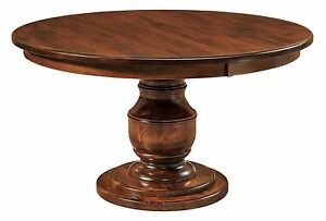 Details About Amish Traditional Round Dining Table Solid Wood Pedestal 48 54 60 72