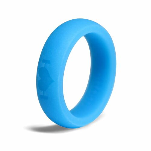 Band Perfect for Fitness Glow in the Dark Blue Silicone Wedding Rings for Women
