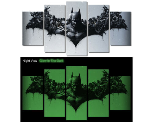 Glow in the Dark Framed Batman Canvas Art Dark Knight Joker Superhero M004-G