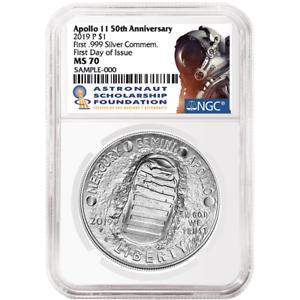 2019-P UNC $1 Apollo 11 50th Ann Silver Dollar NGC MS70 FDI ASF Label