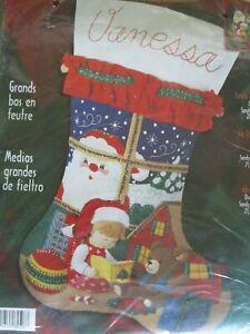 "Bucilla ""Santa Watching "" Sequin Jeweled Christmas Stocking Kit 84596 28"" | eBay"