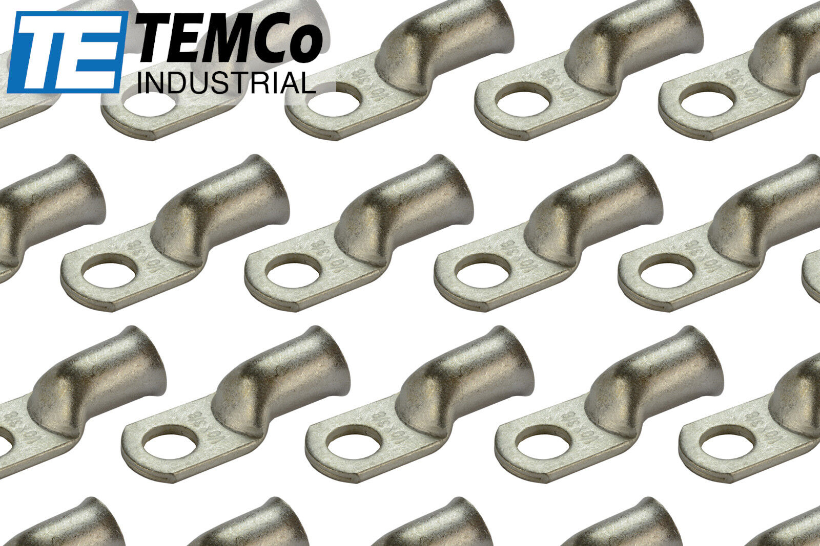 Temco 10 Lot 1//0 AWG 3//8 Hole Ring Terminal Lug Tinned Copper Uninsulated Gauge