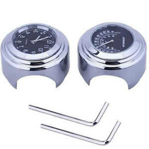 7-8-034-1-034-Motorcycle-Handlebar-Mount-Watch-Dial-Clock-amp-Thermometer-Temp