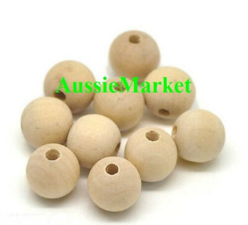 30 x wooden wood beads balls premium quality 15mm x 14mm raw natural jewellery