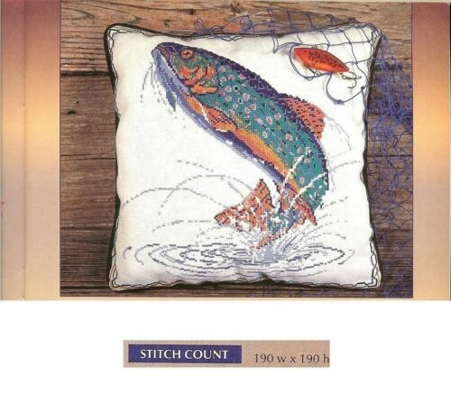 RUS BROOK TROUT PILLOW   CROSS STITCH PATTERN ONLY   HM