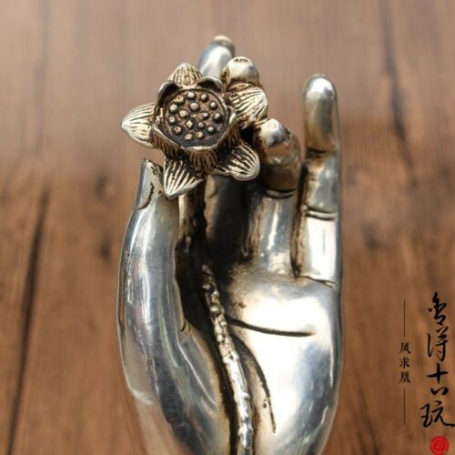 Old Chinese Tibetan silver hand-carved Lotus Hand  FENGSHUI statue