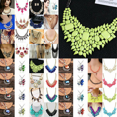 Hot Women's Crystal Bid Pandent Choker Chain Chunky Statement Chic Necklace Gift