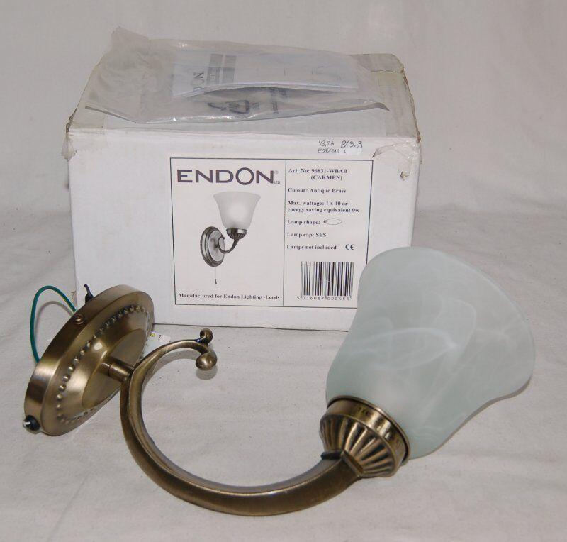 Endon Lampada Lampada Lampada da parete-modello Carmen Antique Brass-ottone vetro latte-NUOVO & OVP 17b41d