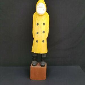 Vtg-Hand-Carved-Wooden-Fisherman-Nautical-Sailor-Folk-Man-Figurine-20-034-Yellow