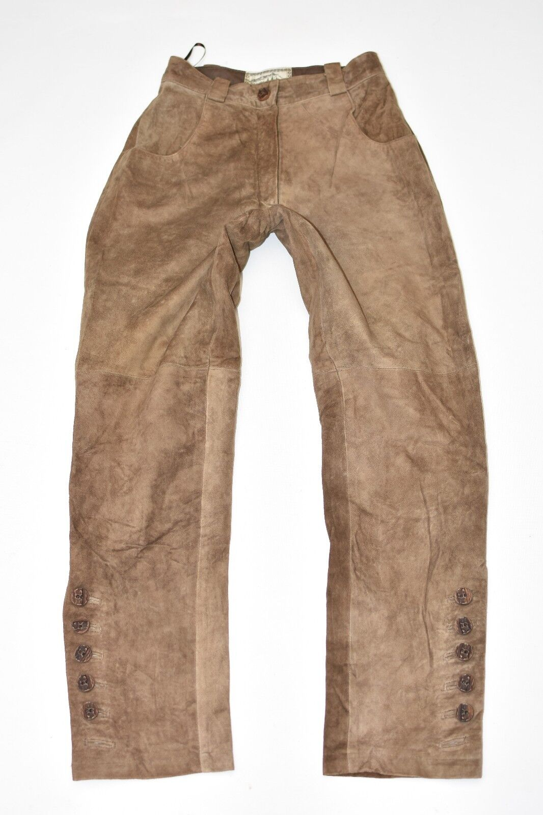 Brown Leather NATURAL LIFE Straight Biker Women's Trousers Pants Size XS L28