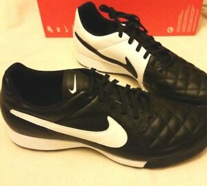 NIKE TIEMPO GENIO LEATHER TURF FOOTBALL TRAINERS BLACK   WHITE UK 6 ... 39557f4e997be