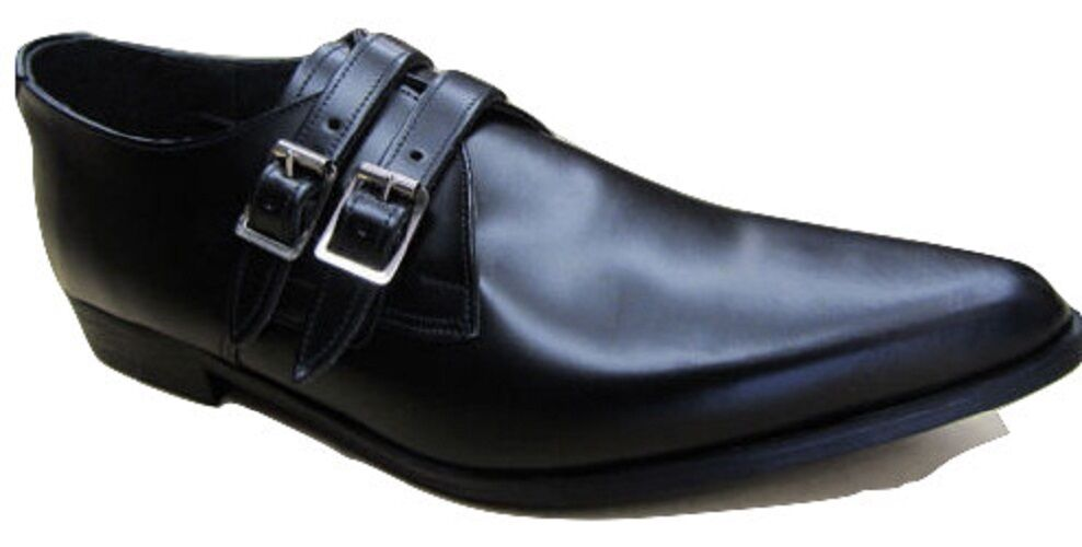Mens Retro Shoes Black Leather Winkle Picker 2 Strap Buckle Pointed