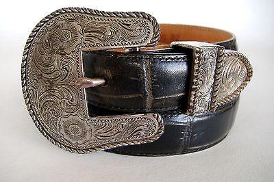 Black Leegin Silver Creek Collection Belt Ornate Silver Metal Buckle Mock Croc