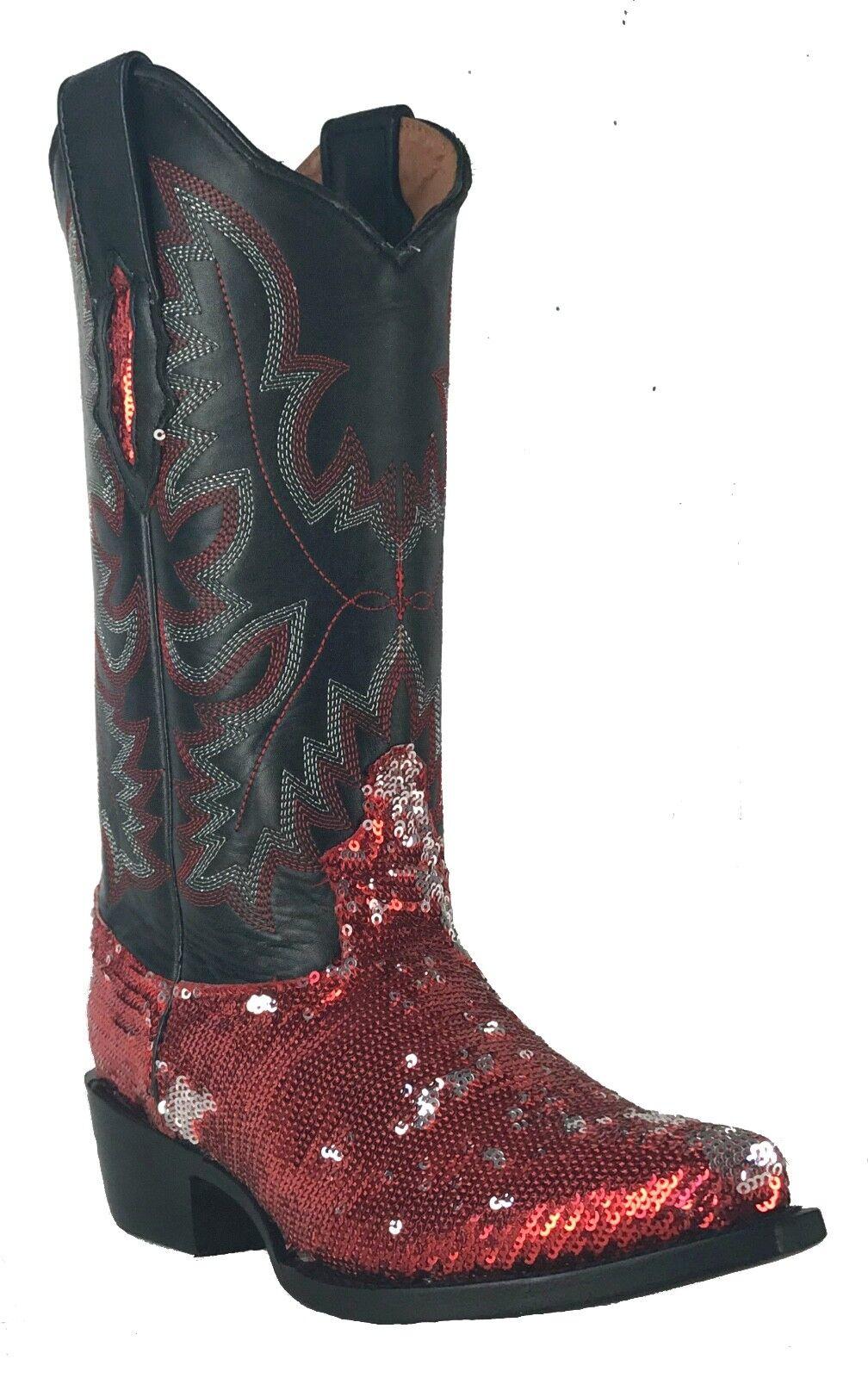 Women's Fantastical Shimmering Sequin Western Cowgirl Biker Boots Snip Red