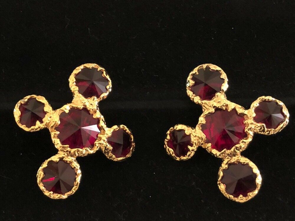 Christian Lacroix Paris France Large Ruby Red Gripoix Glass Stone Clip Earrings