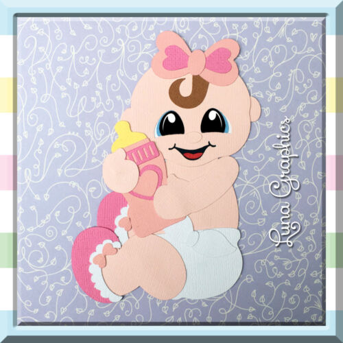 BABY GIRL SITTING Card toppers /&  Paper Piecing scrapbooking