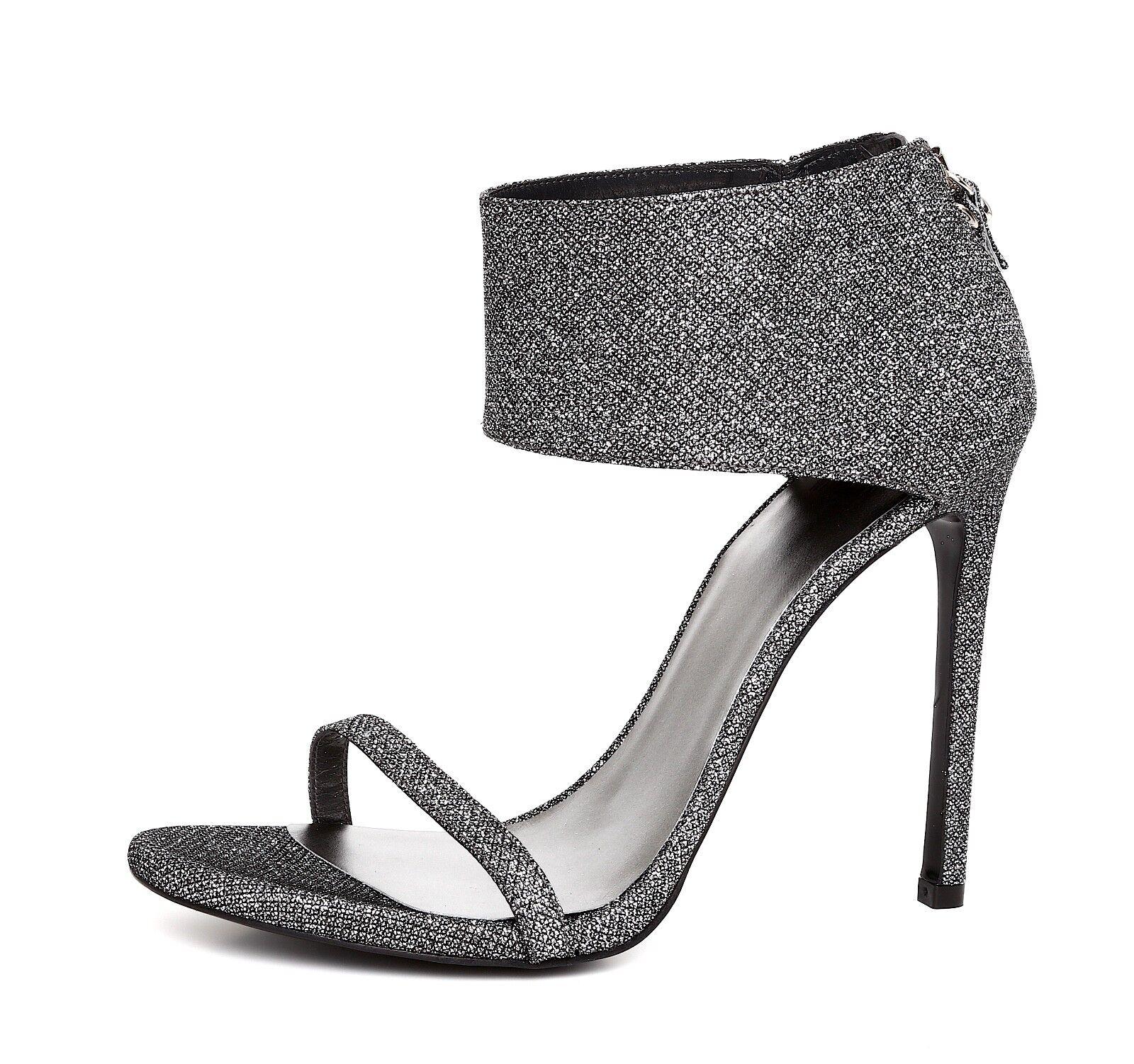 Stuart Weitzman Showgirl Women's Silver Ankle Cuff Sandal Sz 10.5M 4519