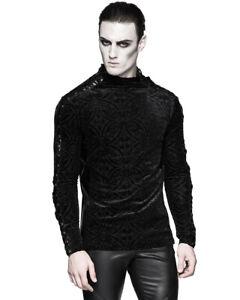 Punk-Rave-Gotico-Top-Para-Hombre-De-Terciopelo-Negro-Manga-Larga-Camisetas-romantico-vampiro-De
