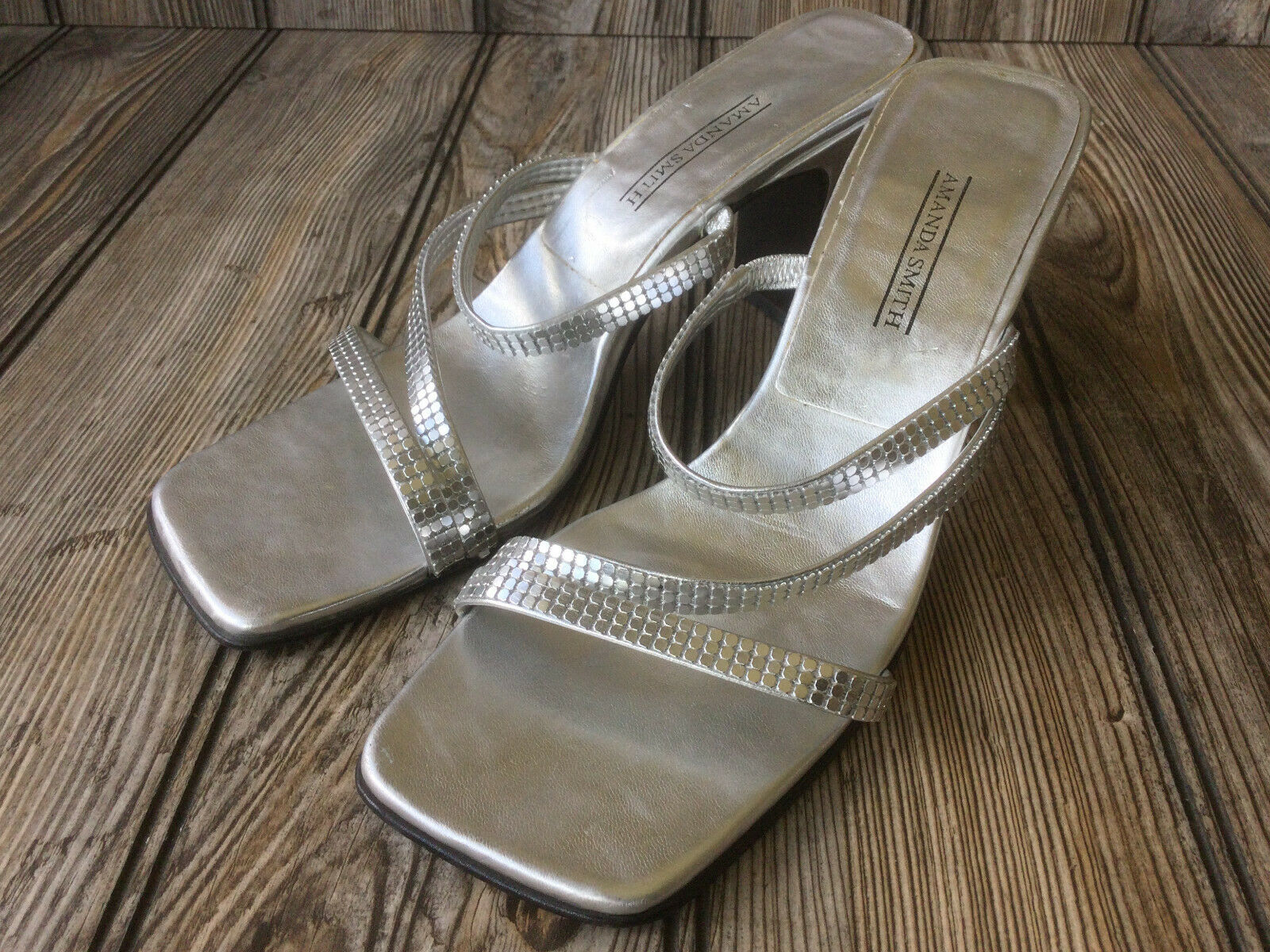 Amanda Smith Silver Open Toe Sandle Shoes 3