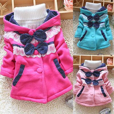 Kids Toddlers Baby Girls Coat Hoodie Sweater Bowknot Fleece Children Clothes