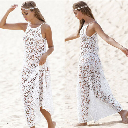 Damen Spitze Kimono Cardigan Bikini Cover Up Sommer Lose Long Bluse Strand Kleid