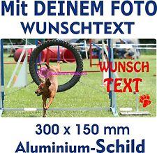 Hunde Schild selbst gestalten eigenes FOTO eigener TEXT Funschild Warnschild TOP