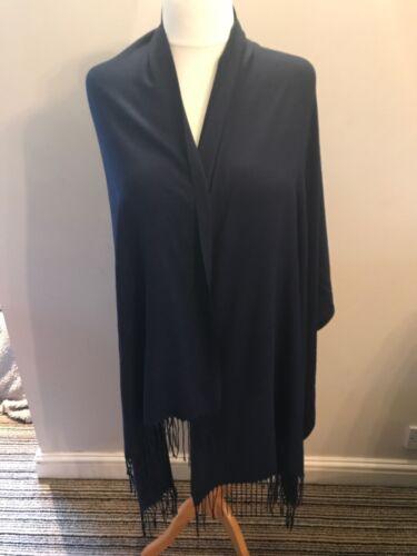 Navy Blue . PASHMINA SCARF LARGE 90/% Cashmere 10/% Silk