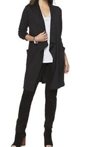 Slinky-Brand-Long-Sleeve-French-Knit-Duster-Pockets-Black-XS-506-083-NWT-A10