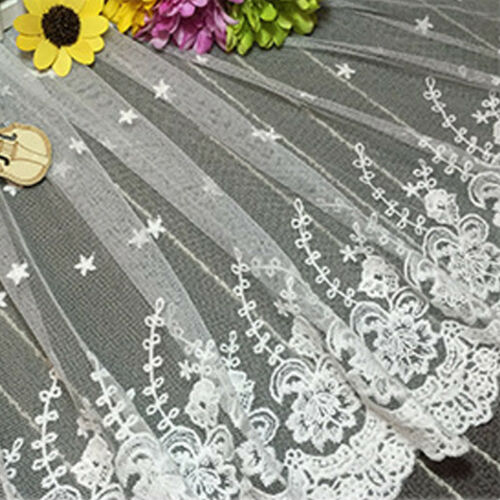 Flower Embroidered Wide Lace Trim Ribbon Fabric Applique Wedding Sewing By Yard