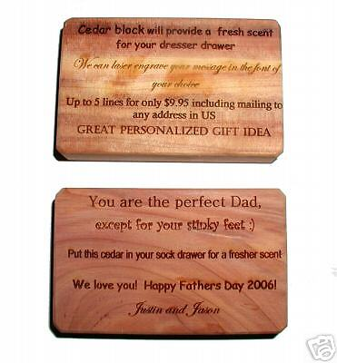 Cedar Block with your personal message laser engraved