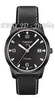 Tissot Men's Pr 100 Quartz Black Dial Black Leather Strap Free Uk Delivery