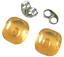 Glass-Earrings-Amber-Yellow-Iridescent-Metallic-Teal-Layer-Post-1-4-034-8mm-STUDS thumbnail 3