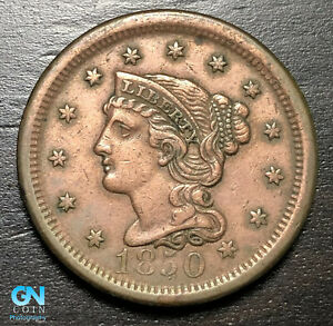 1850 Braided Hair Large Cent --  MAKE US AN OFFER!  #B6225