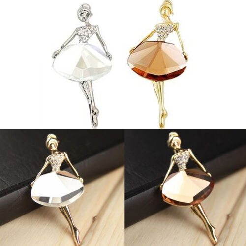 Chic Princess Ballerina Brooch Pins Bling Crystal Brooches Ballet Girl Pins FD