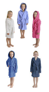 Childrens Boys Girls 100 Cotton Hooded Terry Towelling Soft