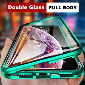360-Front-Back-Clear-Tempered-Glass-Metal-Case-Cover-For-iPhone-11-Pro-Max-XR