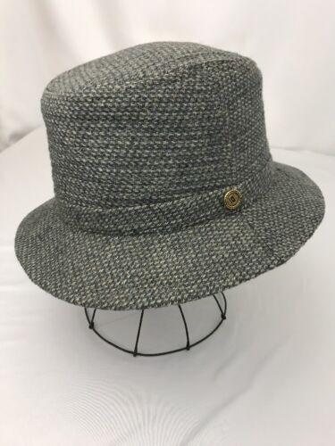 Vtg Hat Fedora Trilby Wool Tweed Gray Men's Medium