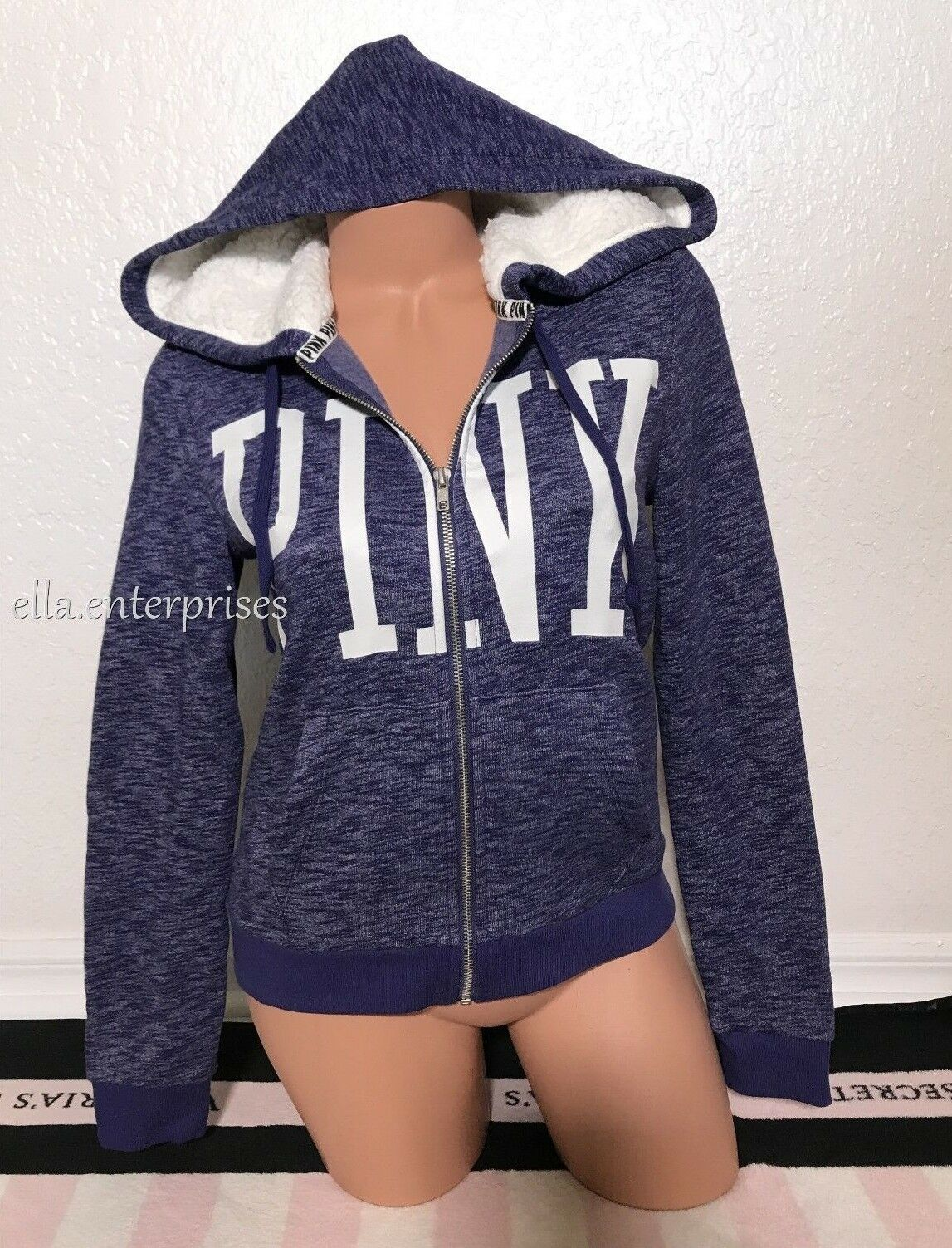 Victoria's Secret Pink Bright Navy White Sherpa Lined Hood Perfect Full Zip - XS