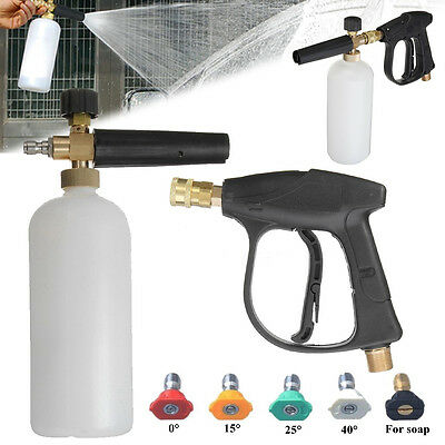 High Pressure Washer Tool Water Jet Snow Foam Lance Cannon With 5 Nozzle Tips