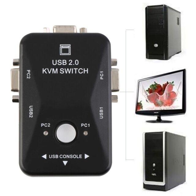 2 Ports USB 2.0 VGA/SVGA KVM Switch Box for Sharing Monitor Keyboard Mouse PZ