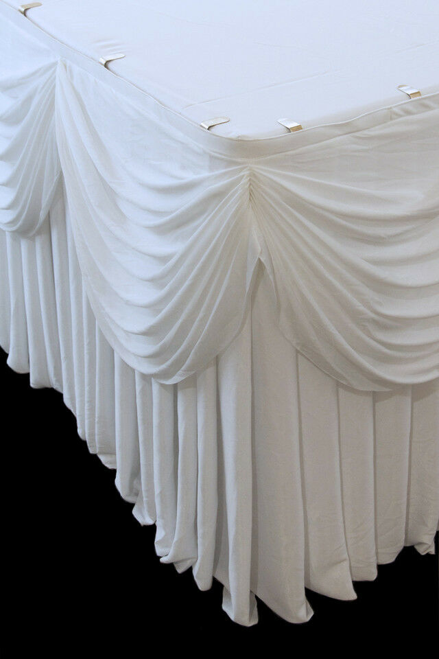 Pleated table skirt with scalloped swag and 20 Velcro table skirt clips