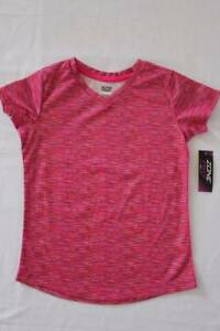 NEW-Girls-Top-Large-10-12-Pink-Silky-T-Shirt-Soft-V-Neck-Active-Wear-School