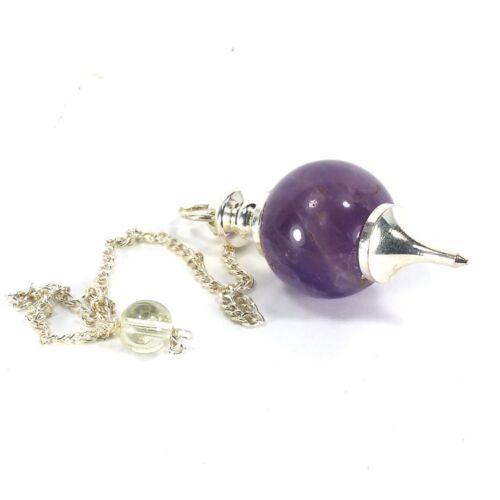 Healing Reiki Dowsing Harmony Amethyst Crystal Gemstone Ball Pendulum EA5742M