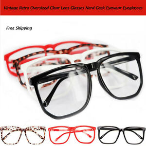 d47306d31e0 Image is loading Large-Oversized-Geek-Fashion-Glasses-Clear-Lens-Thin-