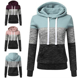 New-Women-Ladies-Patchwork-Hoodie-Coat-Outfit-Ladies-Sweatshirt-Tracksuits-Tops