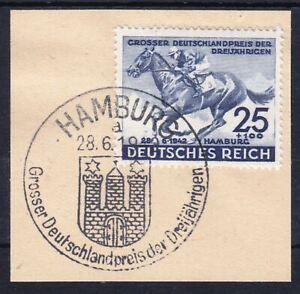 THIRD-REICH-Mi-814-used-Blaues-Band-Horse-Race-stamp-w-cancel-CV-18-00