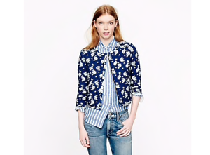 J-Crew-Womens-Size-2-Indigo-Floral-Quilted-Jacket-Cropped-Cotton-Blue-2-Pockets