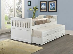 Twin Captains Bed with Trundle and Storage