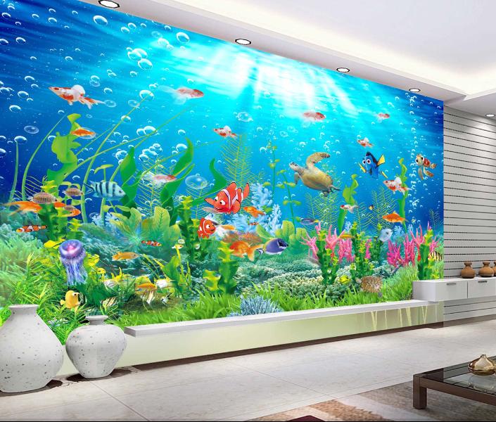 3D Cute Fish Cartoon 7 Wall Paper Murals Wall Print Wall Wallpaper Mural AU Kyra