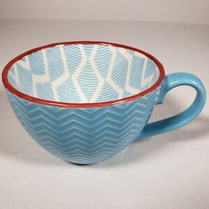 Pfaltzgraff Everyday Blue & White Herringbone Coffee Cup Soup Mug Red Rim 12 oz.